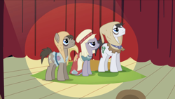 Size: 2000x1126 | Tagged: safe, screencap, doctor whooves, flurry, lucky clover, time turner, earth pony, pony, hearth's warming eve (episode), background pony, clothes, earth pony tribe, female, frown, hat, hood, looking up, male, mare, patches, play, stallion, trio