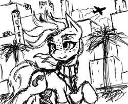 Size: 1196x969 | Tagged: safe, artist:anonymous, oc, oc only, oc:silent phone, earth pony, pony, black and white, building, grayscale, monochrome, ms paint, palm tree, plane, solo, tree