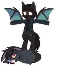 Size: 941x1080 | Tagged: safe, artist:undermaru, oc, oc only, oc:vantablack, bat pony, pony, asserting dominance, bat pony oc, bat wings, bipedal, clothes, glowing eyes, jacket, open mouth, scared, shirt, shrunken pupils, sweat, t pose, wings