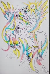 Size: 2048x2992 | Tagged: safe, artist:creeate97, twilight sparkle, alicorn, pony, alternate design, crown, female, flying, glowing horn, horn, jewelry, leonine tail, mare, marker drawing, regalia, simple background, solo, traditional art, twilight sparkle (alicorn), white background