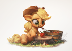Size: 1200x850 | Tagged: safe, artist:assasinmonkey, applejack, earth pony, pony, apple, apple slice, bucket, cowboy hat, cute, female, food, hat, jackabetes, knife, mare, mouth hold, simple background, solo, tree stump, weapons-grade cute, white background