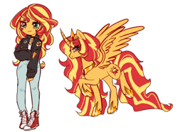 Size: 2738x2040 | Tagged: safe, artist:pantypon, sunset shimmer, alicorn, pony, equestria girls, alicornified, converse, crown, curved horn, cute, duality, female, high res, horn, human ponidox, jewelry, mare, princess, race swap, regalia, self ponidox, shimmerbetes, shimmercorn, shoes, simple background, white background