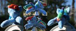 Size: 4834x2000 | Tagged: safe, artist:bastler, rainbow dash, pegasus, pony, irl, photo, plushie, sleeping, solo