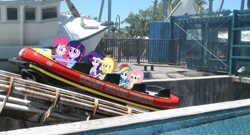 Size: 1568x849 | Tagged: safe, derpibooru exclusive, applejack, fluttershy, pinkie pie, rainbow dash, rarity, twilight sparkle, equestria girls, australia, boat, clenched teeth, equestria girls in real life, gold coast, holding, humane five, humane six, roller coaster, sea world, the ride never ends