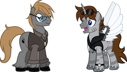 Size: 2000x1125 | Tagged: safe, artist:theeditormlp, oc, oc:brett, oc:the editor, earth pony, hybrid, zony, artificial wings, augmented, clothes, glasses, male, mechanical wing, shirt, simple background, stallion, transparent background, vest, wings