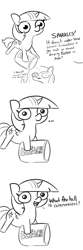 Size: 2250x6750 | Tagged: safe, artist:tjpones, fluttershy, twilight sparkle, alicorn, pegasus, pony, sparkles! the wonder horse!, ..., bleach, bleach (manga), comic, coronavirus, covid-19, dialogue, female, grayscale, hilarious in hindsight, mare, monochrome, offscreen character, otakushy, pun, simple background, small wings, twibitch sparkle, twilight sparkle (alicorn), white background, wings