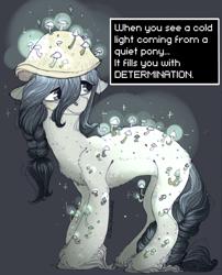 Size: 1022x1267   Tagged: safe, artist:sturpunshie, oc, oc only, mushroom pony, original species, determination, mushroom, solo, text, undertale