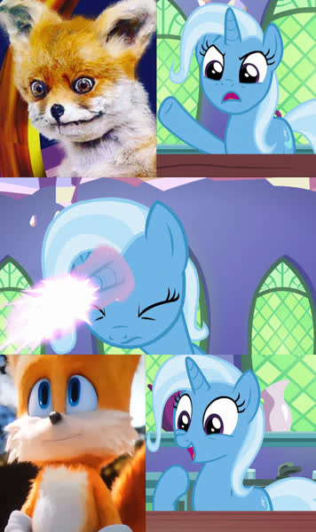 2303457 Safe Edit Edited Screencap Screencap Trixie All Bottled Up Meme Miles Tails Prower Sonic Movie 2020 Sonic The Hedgehog Series Trixie Fixing Meme Derpibooru