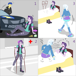 Size: 2000x2000 | Tagged: safe, artist:lzh, derpibooru exclusive, flash sentry, starlight glimmer, trixie, equestria girls, bed, cane, car, cast, comic, crutches, female, hospital, old master q, sitting