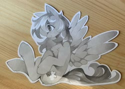 Size: 2048x1452 | Tagged: safe, artist:share dast, rainbow dash, pegasus, pony, female, grayscale, mare, marker drawing, monochrome, solo, traditional art