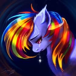 Size: 1024x1024   Tagged: safe, artist:sashlmlsan, rainbow dash, pegasus, pony, bust, crying, ear fluff, female, mare, sad, solo