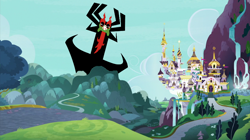 Size: 800x448 | Tagged: safe, edit, edited screencap, screencap, aku, canterlot, samurai jack, this will end in death, this will end in tears, this will end in tears and/or death, waterfall