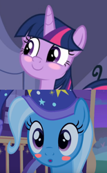 Size: 536x866 | Tagged: safe, edit, edited screencap, screencap, trixie, twilight sparkle, alicorn, the ending of the end, to where and back again, spoiler:s09e24, spoiler:s09e25, blushing, female, lesbian, shipping, shipping domino, twilight sparkle (alicorn), twixie