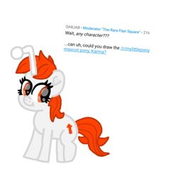 Size: 990x1012 | Tagged: safe, artist:chespinfan, oc, oc only, oc:karma, pony, unicorn, female, mare, reddit, reddit pony, requested art, simple background, smiling, solo, white background