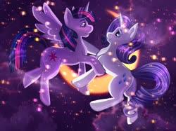 Size: 2732x2048   Tagged: safe, artist:iimd, artist:imd, rarity, twilight sparkle, alicorn, pony, unicorn, blushing, crescent moon, female, galaxy, lesbian, looking at you, mare, moon, rarilight, shipping, stars, twilight sparkle (alicorn), ych result