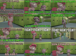 Size: 750x554 | Tagged: safe, artist:undeadponysoldier, bon bon, lyra heartstrings, pinkie pie, pipsqueak, rumble, spike, sweetie drops, series:spikebob scalepants, 3d, angry, comic, fist, gmod, hallway, implied fight, locker, new student starfish, parody, pointing, reference, school, spongebob squarepants, this will end in pain, yelling, yelling at each other