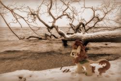 Size: 2048x1373 | Tagged: safe, artist:hihin1993, edit, autumn blaze, kirin, irl, japan, kirin in real life, photo, plushie, river, snow, solo, tree