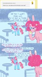 Size: 757x1376 | Tagged: safe, artist:ask-pinkie-polkadot-pie, cup cake, pinkie pie, pony, alternate hairstyle, ask-pinkie-polkadot-pie, solo, table
