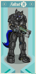 Size: 326x670 | Tagged: safe, artist:darrenfeline, oc, oc:nightmare dancer, bat pony, fallout equestria, bat pony oc, bat wings, enclave, enclave armor, fallout, fallout 76, wings