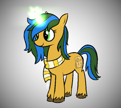 Size: 602x538 | Tagged: safe, artist:modocrisma, oc, oc only, oc:bitwise, pony, unicorn, aura, clothes, doodle, female, glowing horn, gradient background, horn, magic, magic aura, mare, scarf, simple background, smiling, solo, unshorn fetlocks, watermark