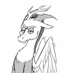 Size: 400x457   Tagged: safe, artist:ramen-vomit, discord, draconequus, looking at you, monochrome, simple background, white background