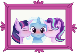 Size: 6250x4351 | Tagged: safe, artist:ejlightning007arts, artist:samyvillaly, edit, starlight glimmer, trixie, twilight sparkle, blushing, bust, cute, diatrixes, female, kiss on the cheek, kiss sandwich, kissing, lesbian, ot3, picture frame, polyamory, portrait, shipping, startrix, twixie, twixstar