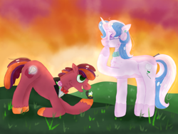 Size: 2048x1536 | Tagged: safe, artist:givolpon, artist:kindheart525, oc, oc:discovery, oc:primrose, earth pony, unicorn, kindverse, female, male, marriage proposal, oc x oc, offspring, offspring shipping, parent:big macintosh, parent:cheerilee, parent:fancypants, parent:fleur-de-lis, parents:cheerimac, parents:fancyfleur, shipping, straight, vitiligo