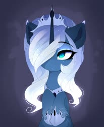 Size: 1752x2130 | Tagged: safe, artist:magnaluna, princess luna, alicorn, pony, alternate design, chest fluff, crown, cute, ear fluff, female, hair over one eye, hoof shoes, hooves to the chest, jewelry, leg fluff, lunabetes, mare, regalia, slit eyes, slit pupils, solo, unshorn fetlocks