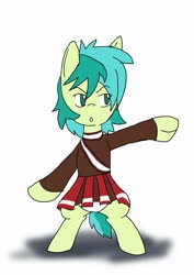 Size: 1451x2048   Tagged: safe, artist:omegapony16, sandbar, earth pony, pony, bipedal, cheering, cheerleader, cheerleader outfit, clothes, clothes swap, crossdressing, male, open mouth, simple background, solo, stallion, white background