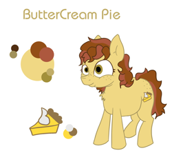 Size: 1280x1150 | Tagged: safe, artist:unhinged_pony, oc, oc only, oc:buttercream pie, earth pony, pony, chubby, earth pony oc, female, food, freckles, mare, pie, reference sheet, solo