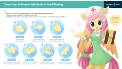 Size: 1920x1080 | Tagged: safe, artist:howxu, fluttershy, anthro, alternate hairstyle, coronavirus, cute, ear fluff, flutternurse, hand, hand washing, hat, nurse hat, nurse outfit, patreon, patreon logo, public service announcement, rules, shyabetes, washing