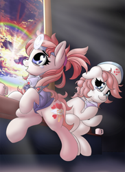 Size: 838x1150 | Tagged: safe, artist:manifest harmony, nurse redheart, oc, oc:manifest harmony, earth pony, pony, series:save the world, coronavirus, covid-19, crying, cup, face mask, heart eyes, heart nostrils, positive message, positive ponies, sonic rainboom, stethoscope, tears of joy, teary eyes, wingding eyes