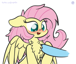 Size: 3040x2560 | Tagged: safe, artist:kimjoman, fluttershy, rainbow dash, pegasus, pony, blushing, chest fluff, cute, disembodied hoof, female, floppy ears, happy, mare, poking, shyabetes, spread wings, wings