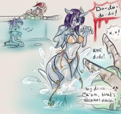 Size: 3000x2837 | Tagged: safe, artist:skuttz, oc, oc:killi thaum, oc:zeze, anthro, original species, shark, shark pony, bikini, clothes, jaws, piercing, scared, swimming pool, swimsuit, tail piercing, underwater