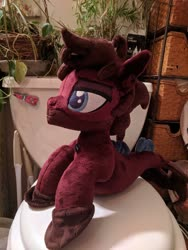 Size: 2429x3238 | Tagged: safe, artist:dixierarity, photographer:lightningbolt, seapony (g4), bring me the horizon, but why, facial hair, fins, irl, jewelry, jordan fish, male, necklace, photo, plants, plushie, ponified, solo, toilet