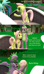 Size: 1920x3240 | Tagged: safe, artist:papadragon69, fluttershy, rainbow dash, spike, dragon, comic:spike's cyosa, 3d, comic, cyoa, female, flutterspike, male, older, older spike, shipping, source filmmaker, straight, teenage spike, teenager, winged spike