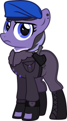 Size: 4000x7244 | Tagged: safe, artist:n0kkun, oc, oc only, oc:lunal guard, earth pony, pony, belt, beret, bomber jacket, boots, clothes, ear piercing, earring, female, fingerless gloves, gloves, gun, handgun, hat, holster, jacket, jewelry, mare, pants, piercing, pistol, shirt, shoes, simple background, solo, transparent background, watch, wristwatch