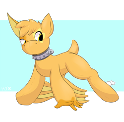 Size: 1200x1179 | Tagged: safe, artist:helixjack, oc, oc only, pony, abstract background, collar, inanimate tf, plushie, plushification, ponified, solo, species swap, transformation