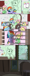 Size: 2000x5000 | Tagged: safe, artist:skitter, fluttershy, rainbow dash, oc, oc:daffodil dream, earth pony, ghost, ghost pony, pegasus, pony, rabbit, undead, comic:secret of the haunted nursery, age regression, animal, baby, baby bottle, baby dash, baby fluttershy, baby rainbow dash, babying, babyshy, bad end, blanket, bottle, comic, crib, diaper, eyes closed, feeding, floppy ears, foal, footed sleeper, force feeding, forced, helpless, levitation, magic, milk, mirror, mobile, muffled moaning, pacifier, plushie, sleeping, speech bubble, telekinesis, trapped, younger