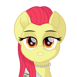 Size: 1500x1500 | Tagged: safe, alternate version, artist:cloudyglow, apple bloom, earth pony, pony, bust, female, jewelry, lidded eyes, looking at you, mare, movie accurate, necklace, older, older apple bloom, reputation, simple background, solo, taylor swift, white background