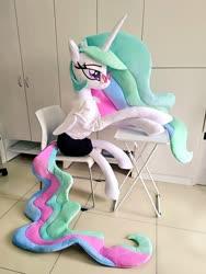 Size: 768x1024 | Tagged: safe, artist:nekokevin, princess celestia, alicorn, pony, chair, clothes, female, glasses, irl, lidded eyes, mare, photo, plushie, shirt, sitting, skirt, smiling, solo