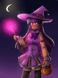 Size: 1280x1707 | Tagged: safe, artist:mylittleyuri, artist:twi-shys, twilight sparkle, human, blushing, candy, clothes, costume, crescent moon, elf ears, food, glow, halloween, halloween costume, hat, humanized, magic, magic aura, magic wand, moon, night, night sky, pumpkin, sky, socks, solo, stars, thigh highs, wand, witch, witch hat
