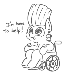 Size: 472x538 | Tagged: safe, artist:jargon scott, oc, oc only, oc:lil tp, earth pony, pony, black and white, golden wind, grayscale, jean pierre polnareff, jojo reference, jojo's bizarre adventure, lineart, monochrome, simple background, solo, vento aureo, wheelchair, white background