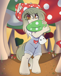 Size: 3364x4146   Tagged: safe, artist:missclaypony, oc, anthro, unguligrade anthro, clothes, female, high res, mare, mushroom, overalls, solo