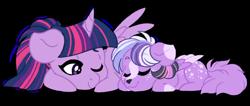 Size: 1024x433   Tagged: safe, artist:azure-art-wave, twilight sparkle, oc, oc:satin nebula, alicorn, hybrid, pony, female, hybrid offspring, interspecies offspring, mare, mother, offspring, one eye closed, parent:discord, parent:twilight sparkle, parents:discolight, prone, simple background, sleeping, transparent background, twilight sparkle (alicorn)