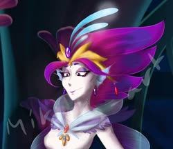 Size: 2048x1766 | Tagged: safe, artist:mikitty art, queen novo, human, seapony (g4), my little pony: the movie, armpits, crown, eyelashes, fins, humanized, jewelry, regalia, seaquestria, solo, underwater, watermark
