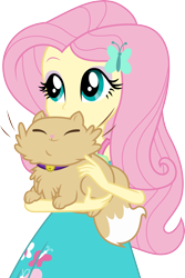 Size: 3000x4500   Tagged: safe, artist:cloudyglow, fluttershy, cat, driving miss shimmer, equestria girls, spoiler:eqg series, cute, driving miss shimmer: fluttershy, miss kitty, shyabetes, simple background, smiling, solo, transparent background, vector