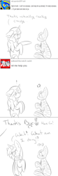 Size: 1000x3004 | Tagged: safe, artist:kaggy009, oc, oc only, oc:peppermint pattie (unicorn), oc:swirl scratch, pony, ask peppermint pattie, clothes, female, mare, monochrome, mummy, scarf