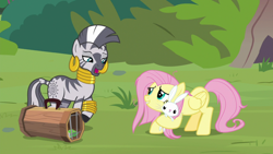 Size: 1920x1080 | Tagged: safe, screencap, angel bunny, fluttershy, zecora, pegasus, pony, rabbit, zebra, she talks to angel, animal, cage, ear piercing, earring, female, jewelry, leg rings, male, mare, messy mane, neck rings, open mouth, piercing