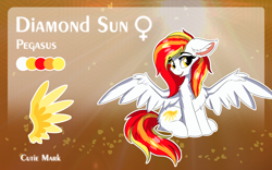 Size: 1920x1200 | Tagged: safe, artist:lunar froxy, oc, oc only, oc:diamond sun, pegasus, pony, abstract background, butt fluff, cheek fluff, chest fluff, commission, ear fluff, female, floppy ears, fluffy, mare, reference sheet, sitting, smiling, solo, spread wings, wings